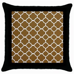 Vintage Tile Brown  Throw Pillow Case (black) by TimelessDesigns