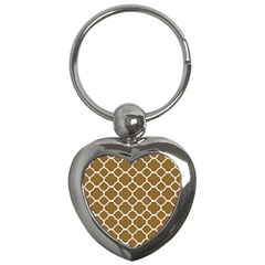 Vintage Tile Brown  Key Chains (heart)