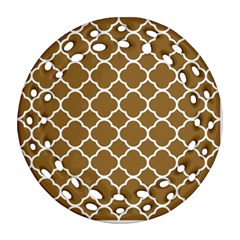 Vintage Tile Brown  Round Filigree Ornament (two Sides)
