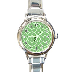Vintage Tile Green  Round Italian Charm Watch by TimelessFashion
