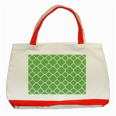 Vintage Tile Green  Classic Tote Bag (red)