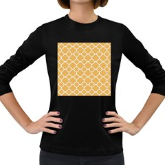 Vintage Tile Orange  Women s Long Sleeve Dark T Shirt