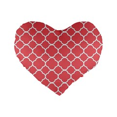 Vintage Tile Red  Standard 16  Premium Flano Heart Shape Cushions
