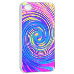 Cool Abstract Pink Blue And Yellow Twirl Liquid Art Apple Iphone 4/4s Seamless Case (white) by myrubiogarden