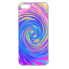 Cool Abstract Pink Blue And Yellow Twirl Liquid Art Apple Seamless Iphone 5 Case (clear) by myrubiogarden