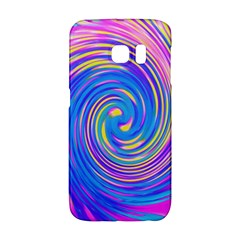 Cool Abstract Pink Blue And Yellow Twirl Liquid Art Samsung Galaxy S6 Edge Hardshell Case by myrubiogarden