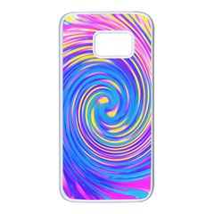 Cool Abstract Pink Blue And Yellow Twirl Liquid Art Samsung Galaxy S7 White Seamless Case by myrubiogarden