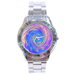 Cool Abstract Pink Blue And Yellow Twirl Liquid Art Stainless Steel Analogue Watch