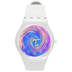 Cool Abstract Pink Blue And Yellow Twirl Liquid Art Round Plastic Sport Watch (m) by myrubiogarden