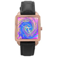 Cool Abstract Pink Blue And Yellow Twirl Liquid Art Rose Gold Leather Watch  by myrubiogarden