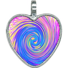 Cool Abstract Pink Blue And Yellow Twirl Liquid Art Heart Necklace by myrubiogarden