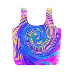 Cool Abstract Pink Blue And Yellow Twirl Liquid Art Full Print Recycle Bag (m) by myrubiogarden