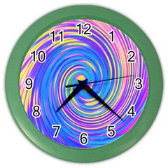 Cool Abstract Pink Blue And Yellow Twirl Liquid Art Color Wall Clock by myrubiogarden