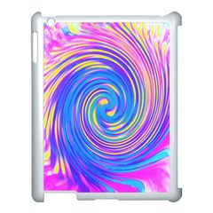 Cool Abstract Pink Blue And Yellow Twirl Liquid Art Apple Ipad 3/4 Case (white) by myrubiogarden