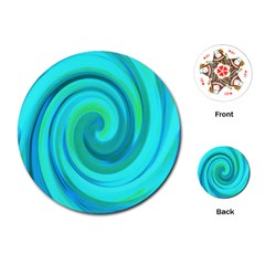 Groovy Cool Abstract Aqua Liquid Art Swirl Painting Playing Cards (round)