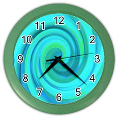Groovy Cool Abstract Aqua Liquid Art Swirl Painting Color Wall Clock by myrubiogarden