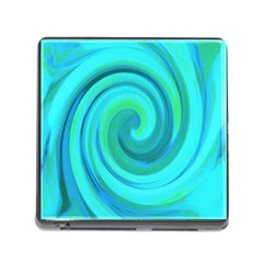 Groovy Cool Abstract Aqua Liquid Art Swirl Painting Memory Card Reader (square 5 Slot) by myrubiogarden