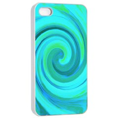 Groovy Cool Abstract Aqua Liquid Art Swirl Painting Apple Iphone 4/4s Seamless Case (white) by myrubiogarden
