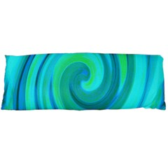 Groovy Cool Abstract Aqua Liquid Art Swirl Painting Body Pillow Case (dakimakura) by myrubiogarden