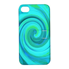 Groovy Cool Abstract Aqua Liquid Art Swirl Painting Apple Iphone 4/4s Hardshell Case With Stand by myrubiogarden