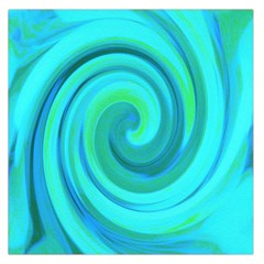 Groovy Cool Abstract Aqua Liquid Art Swirl Painting Large Satin Scarf (square) by myrubiogarden
