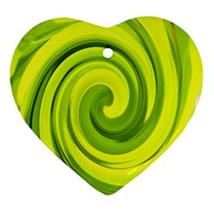 Groovy Abstract Green Liquid Art Swirl Painting Ornament (heart)
