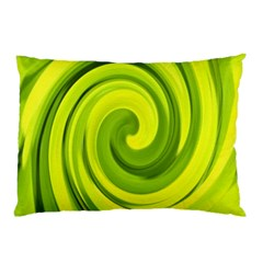 Groovy Abstract Green Liquid Art Swirl Painting Pillow Case (two Sides) by myrubiogarden