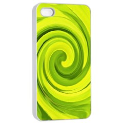 Groovy Abstract Green Liquid Art Swirl Painting Apple Iphone 4/4s Seamless Case (white) by myrubiogarden