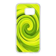 Groovy Abstract Green Liquid Art Swirl Painting Samsung Galaxy S7 Edge White Seamless Case