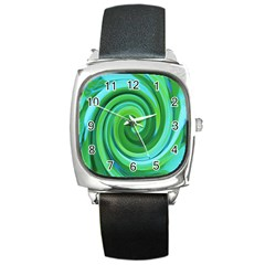Groovy Abstract Turquoise Liquid Swirl Painting Square Metal Watch