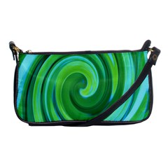 Groovy Abstract Turquoise Liquid Swirl Painting Shoulder Clutch Bag by myrubiogarden