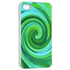 Groovy Abstract Turquoise Liquid Swirl Painting Apple Iphone 4/4s Seamless Case (white) by myrubiogarden
