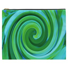 Groovy Abstract Turquoise Liquid Swirl Painting Cosmetic Bag (xxxl) by myrubiogarden