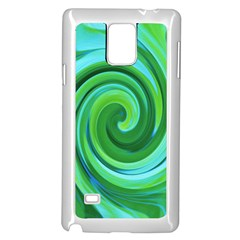 Groovy Abstract Turquoise Liquid Swirl Painting Samsung Galaxy Note 4 Case (white)