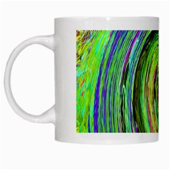 Groovy Abstract Green And Crimson Liquid Swirl White Mugs