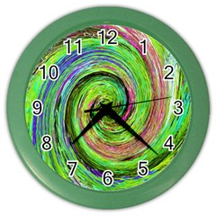 Groovy Abstract Green And Crimson Liquid Swirl Color Wall Clock by myrubiogarden