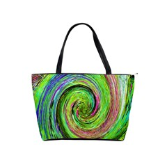 Groovy Abstract Green And Crimson Liquid Swirl Classic Shoulder Handbag