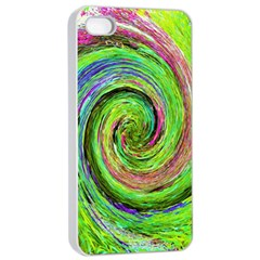 Groovy Abstract Green And Crimson Liquid Swirl Apple Iphone 4/4s Seamless Case (white) by myrubiogarden
