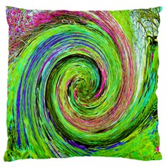 Groovy Abstract Green And Crimson Liquid Swirl Standard Flano Cushion Case (one Side) by myrubiogarden