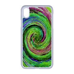Groovy Abstract Green And Crimson Liquid Swirl Apple Iphone Xr Seamless Case (white) by myrubiogarden