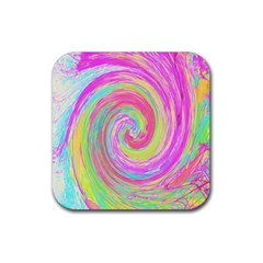 Groovy Abstract Pink And Blue Liquid Swirl Painting Rubber Coaster (square)