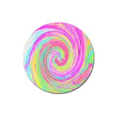 Groovy Abstract Pink And Blue Liquid Swirl Painting Magnet 3  (round) by myrubiogarden