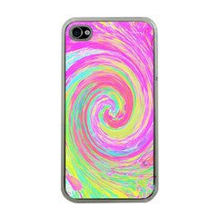 Groovy Abstract Pink And Blue Liquid Swirl Painting Apple Iphone 4 Case (clear)