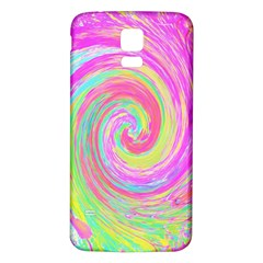 Groovy Abstract Pink And Blue Liquid Swirl Painting Samsung Galaxy S5 Back Case (white) by myrubiogarden