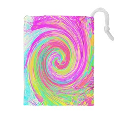Groovy Abstract Pink And Blue Liquid Swirl Painting Drawstring Pouch (xl)