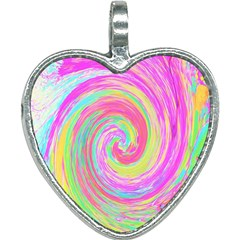 Groovy Abstract Pink And Blue Liquid Swirl Painting Heart Necklace by myrubiogarden