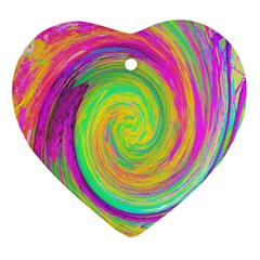 Groovy Abstract Purple And Yellow Liquid Swirl Ornament (heart) by myrubiogarden