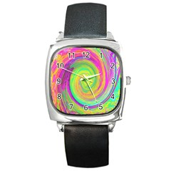 Groovy Abstract Purple And Yellow Liquid Swirl Square Metal Watch by myrubiogarden