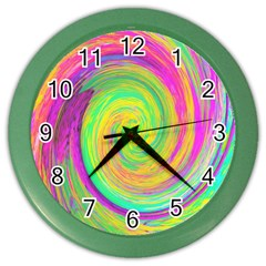Groovy Abstract Purple And Yellow Liquid Swirl Color Wall Clock by myrubiogarden