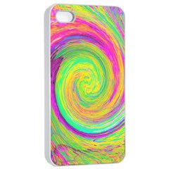 Groovy Abstract Purple And Yellow Liquid Swirl Apple Iphone 4/4s Seamless Case (white) by myrubiogarden